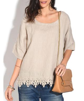 d637e4a11e Sand pure linen lace-trim blouse Sale - William de Faye Sale