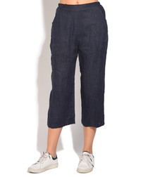 Navy pure linen trousers