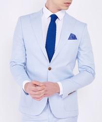 Pastel blue cotton extra slim blazer suit