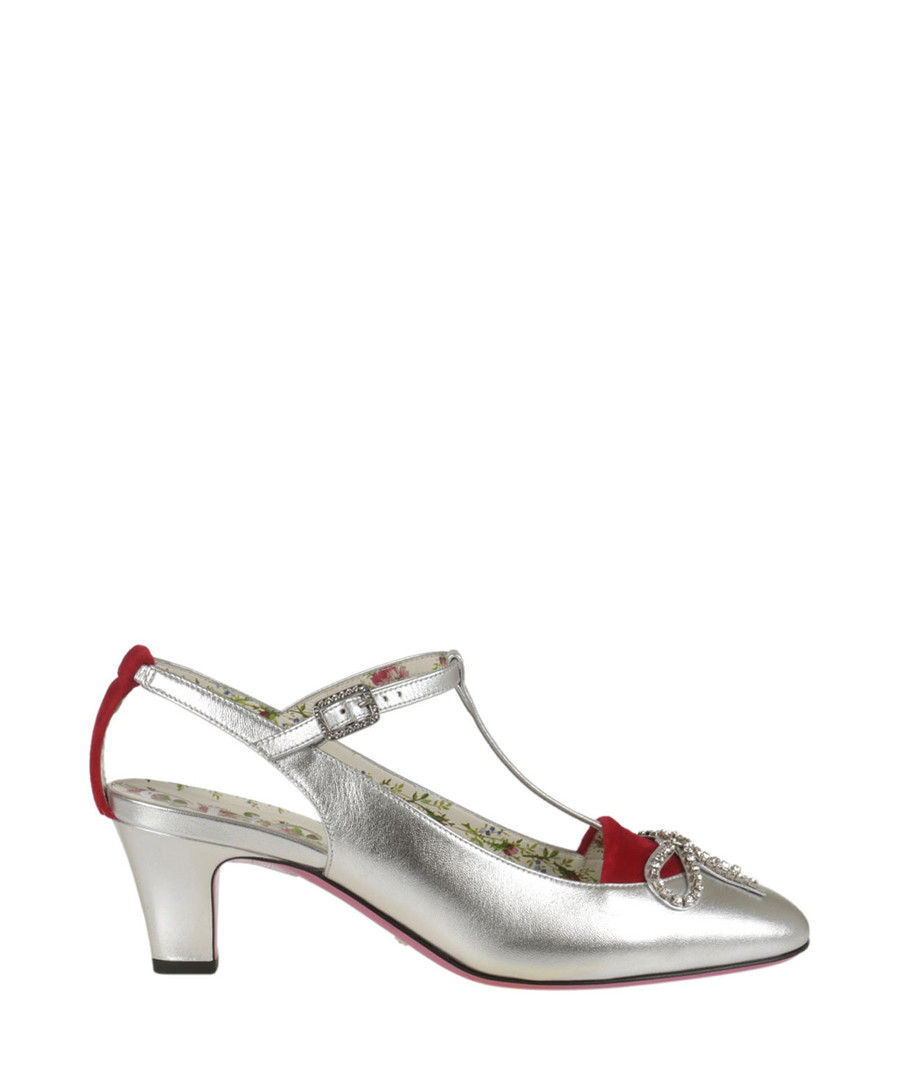 Women's silver leather T-bar mid heels Sale - gucci