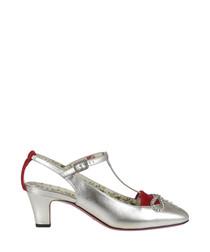 Women's silver leather T-bar mid heels