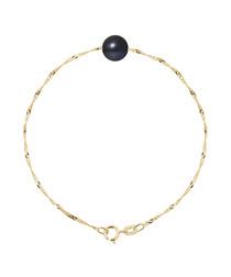 Black pearl & 9k gold bracelet