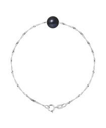Black pearl & 9k white gold bracelet