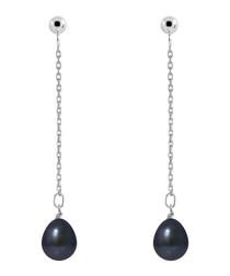 0.7cm black Tahiti pearl drop earrings