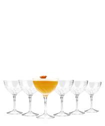 6pc Fluente crystal champagne glass set