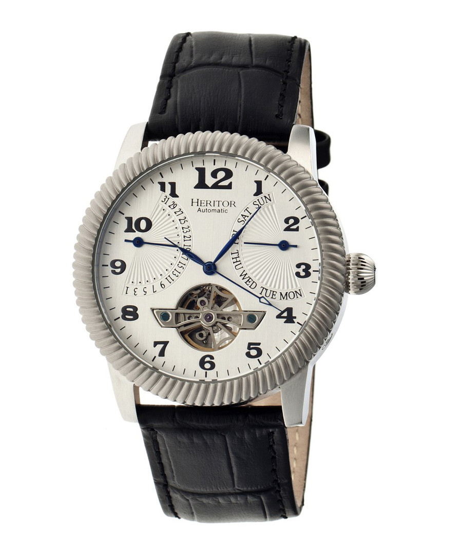 Piccard black leather watch Sale - heritor automatic