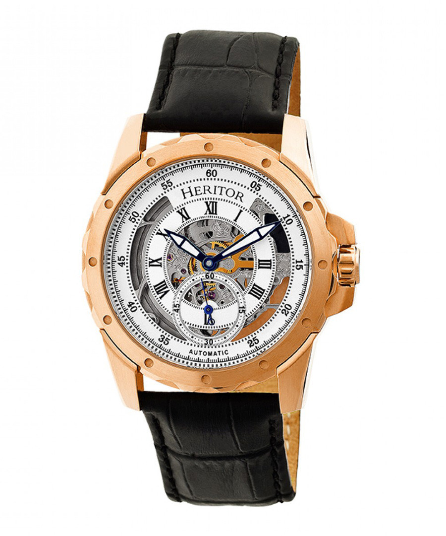 Armstrong black leather watch Sale - heritor automatic