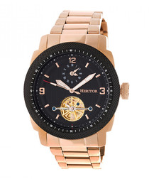 Helmsley black & rose gold-tone watch
