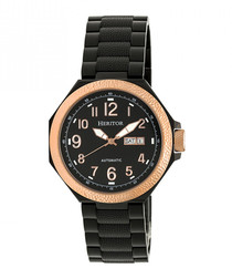 Spartacus black leather & steel watch