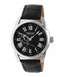 Marcus black leather & steel watch