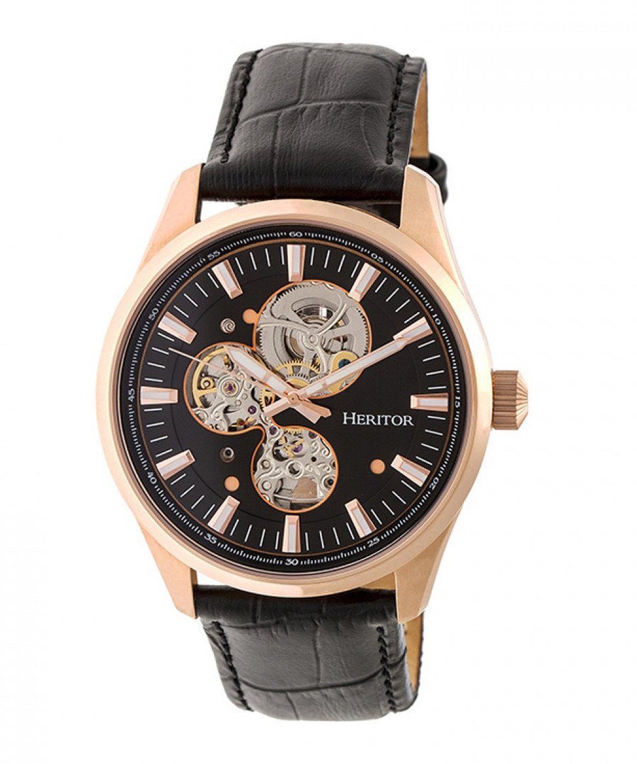 Stanley black leather watch Sale - heritor automatic