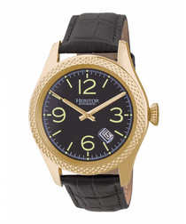Barnes black & gold-tone leather watch