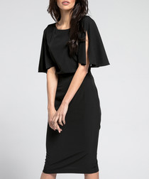 Black cape sleeve dress