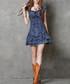 Blue cotton blend star mini dress Sale - keer qiaowa Sale
