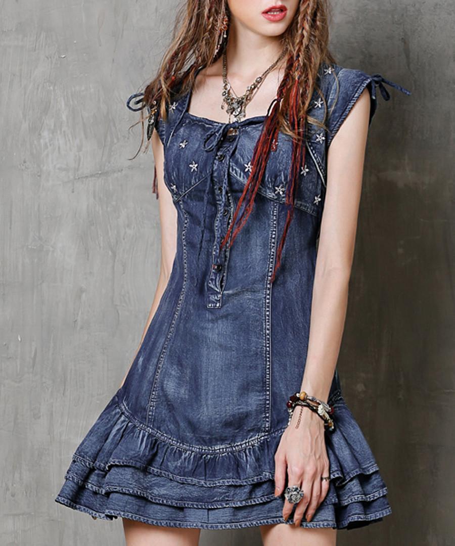 Blue cotton blend star mini dress Sale - keer qiaowa