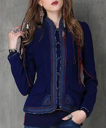 Dark blue cotton & wool trim jacket
