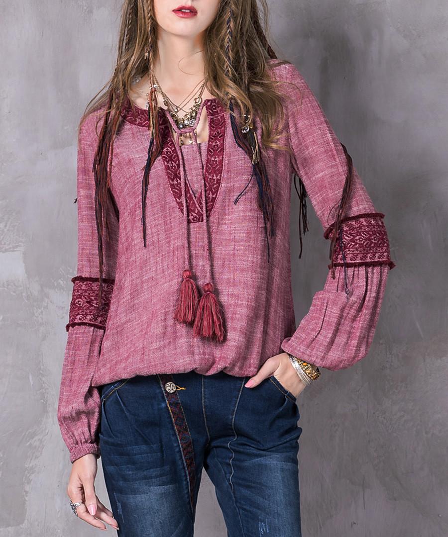 Pink cotton & linen long sleeve blouse Sale - keer qiaowa