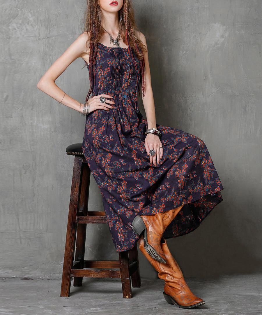 Purple cotton & linen strappy dress Sale - keer qiaowa