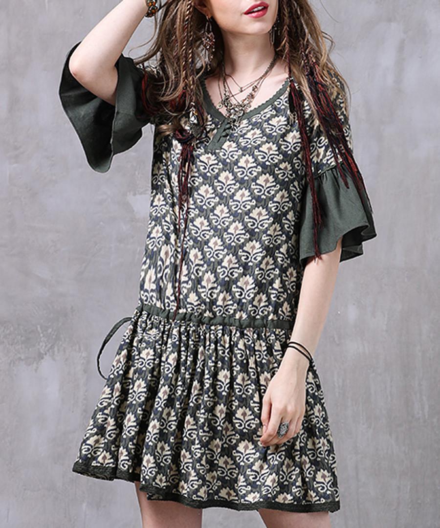 Green cotton & linen pattern dress Sale - keer qiaowa