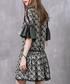 Green cotton & linen pattern dress Sale - keer qiaowa Sale
