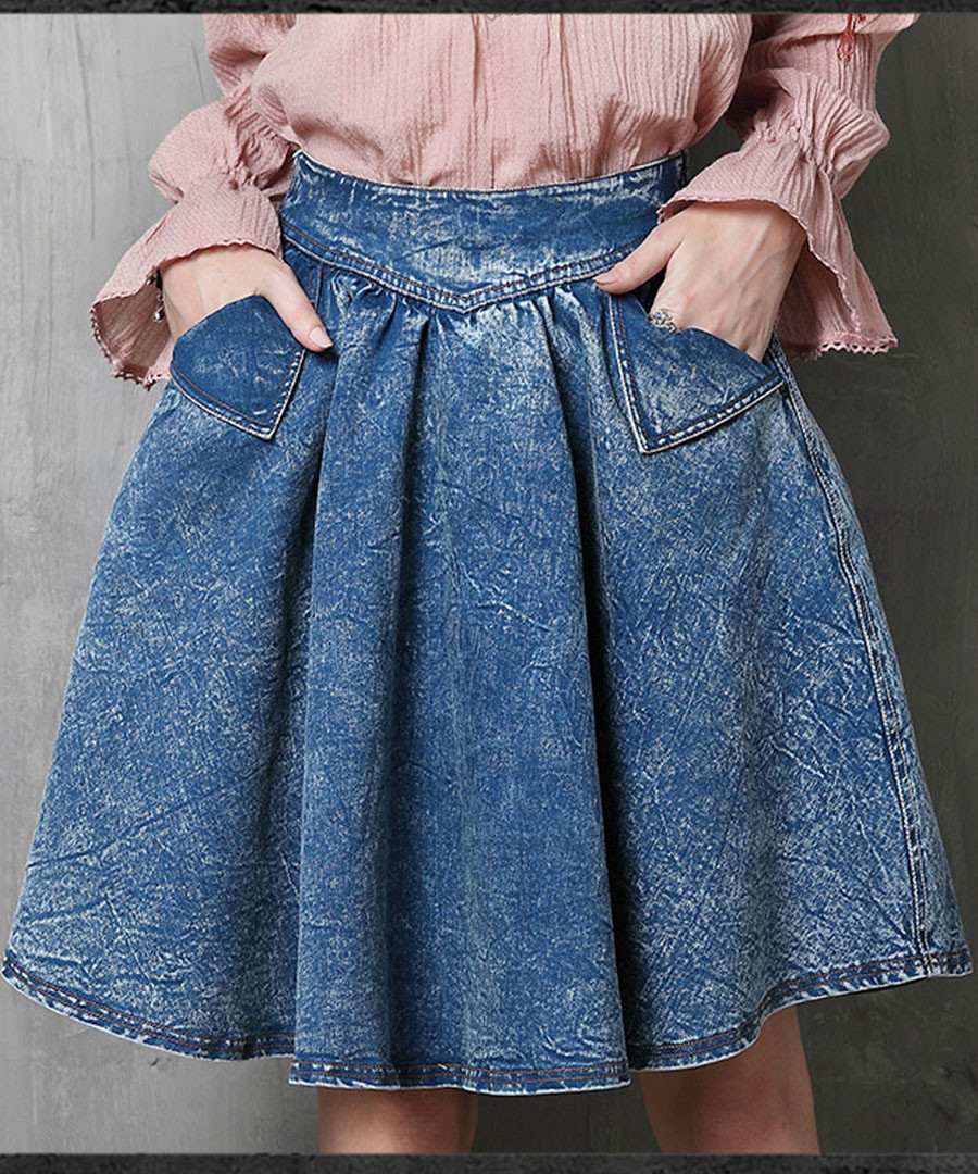 Blue cotton blend knee-length skirt Sale - keer qiaowa