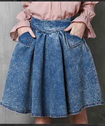 Blue cotton blend knee-length skirt