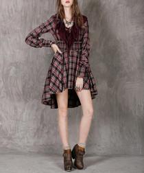 Red & black pure cotton check dress