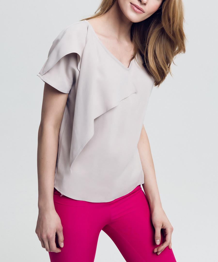 Beige ruffle flap detail blouse Sale - peperuna