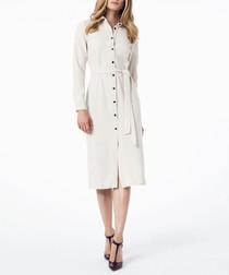 Beige knee-length shirt dress
