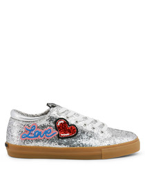 Women's Silver glitter lace-up sneakers