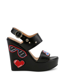 Black patch strappy wedge sandals