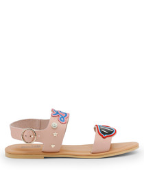 Light pink patch strappy sandals