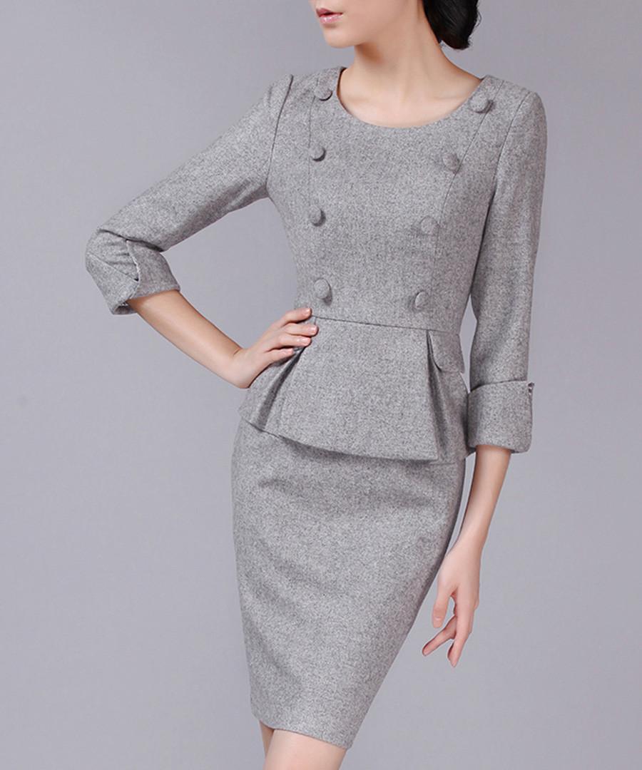 Grey wool blend peplum button dress Sale - Vogue.Va