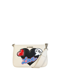 I Do ivory patch cross body bag