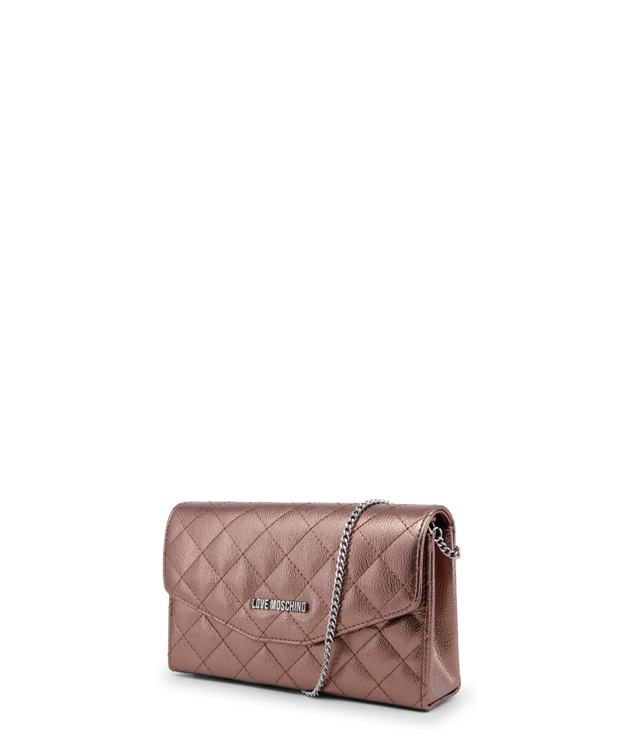 677698c2c2895c ... Copper quilted flap clutch bag Sale - love moschino