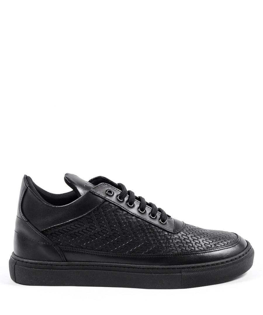 Black leather print sneakers Sale - v italia by versace 1969 abbigliamento sportivo srl milano italia