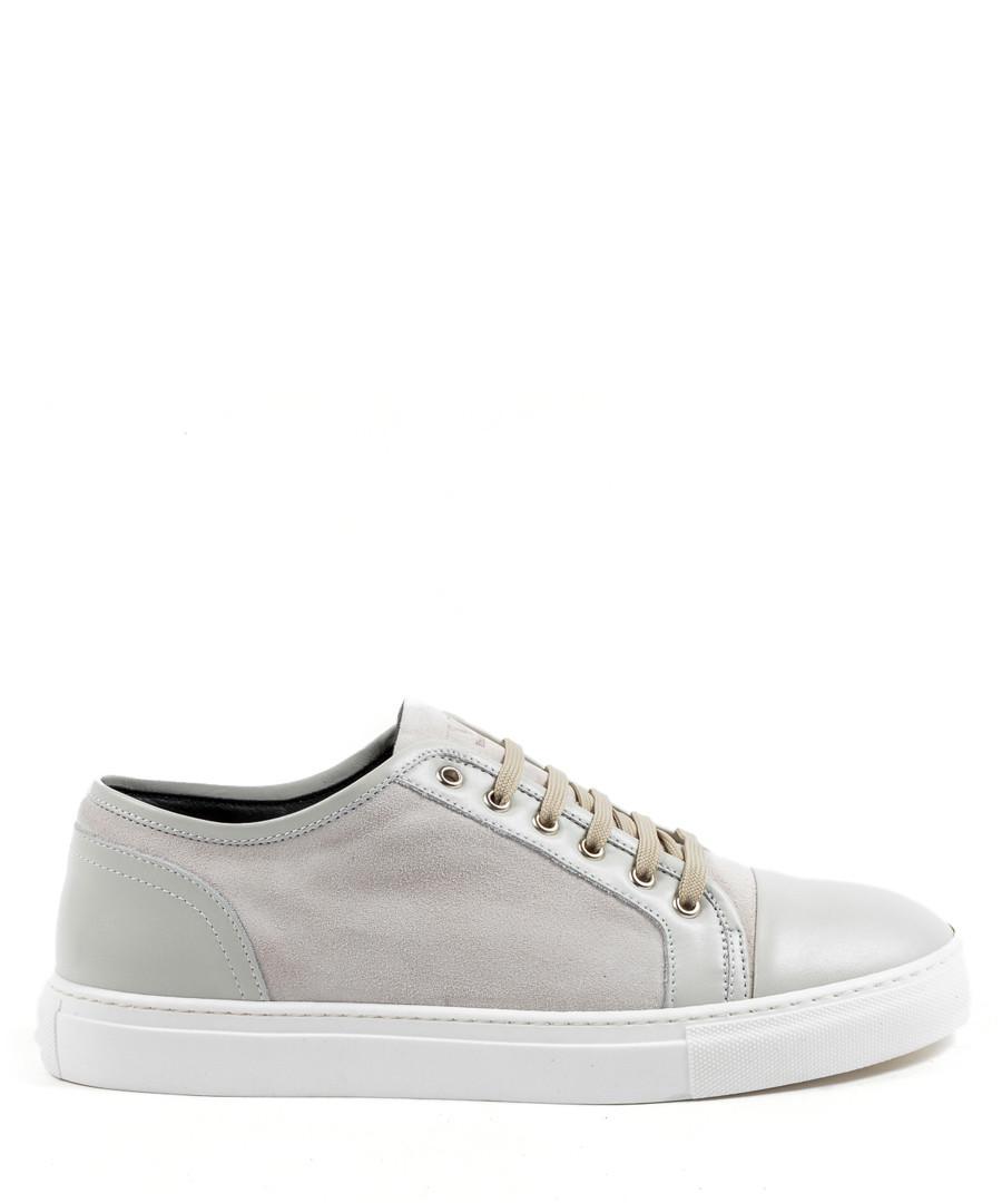 Men's Light grey leather sneakers Sale - v italia by versace 1969 abbigliamento sportivo srl milano italia