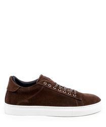 Men's Brown suede lace-up sneakers