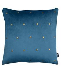 Kensington teal metal stud cushion 43cm