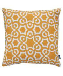 Azure ochre cotton blend cushion 43cm