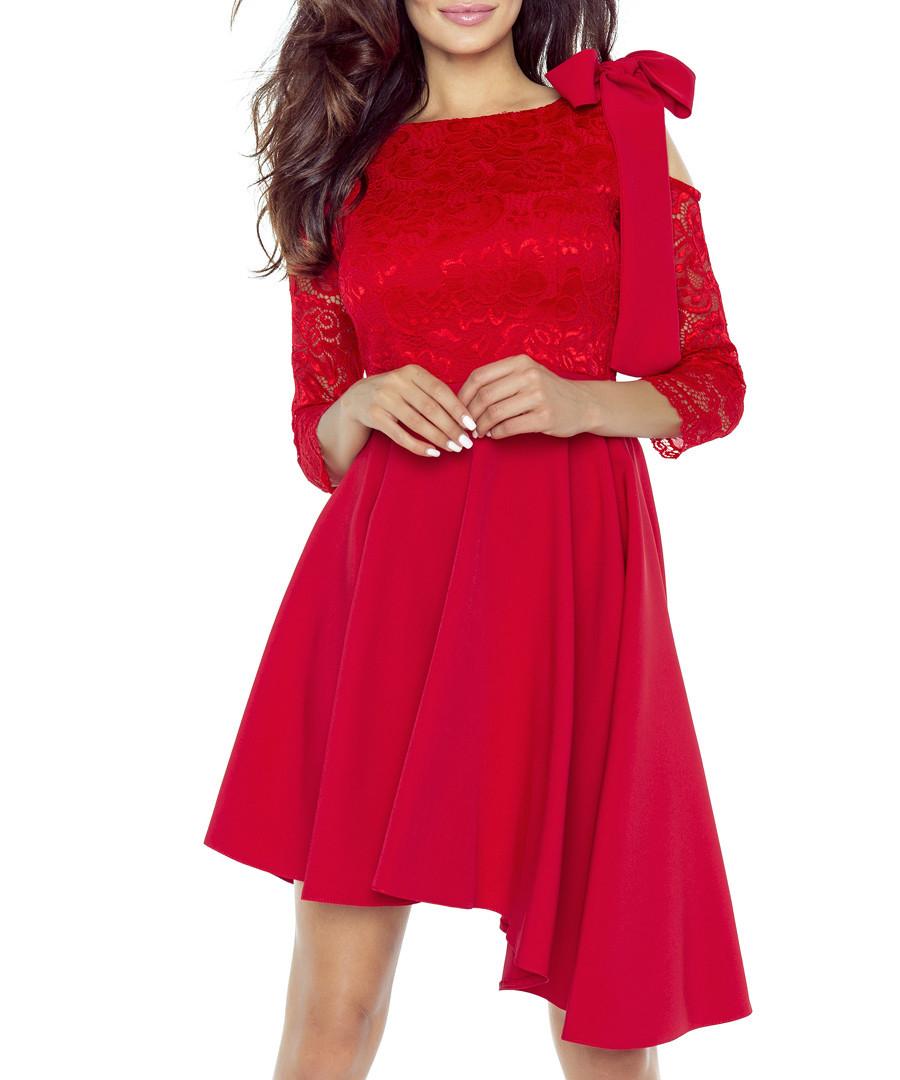 Red lace bow & cut-out hi-low dress  Sale - bergamo