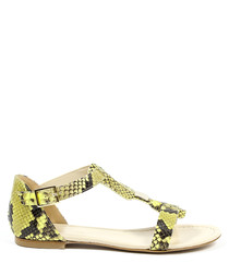 Yellow & black leather sandals