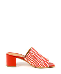 Women's Orange & white leather mules