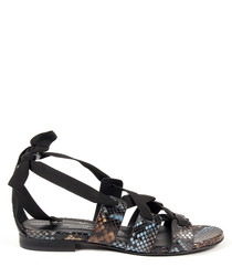 Black leather tie-up sandals