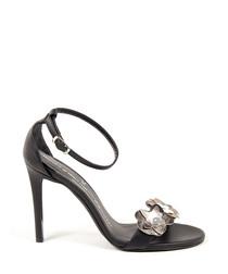 Black leather floral strappy stilettos