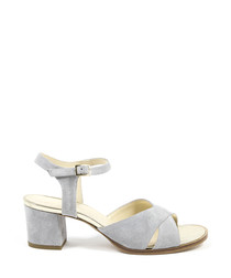 Light grey leather heeled sandals