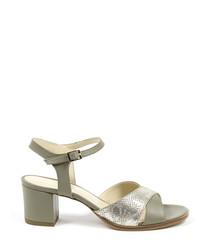 Light grey leather heeled sandals