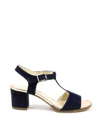 Black suede peeptoe T-bar sandals