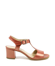 Tan leather peeptoe T-bar sandals