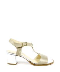 Beige leather peeptoe T-bar sandals